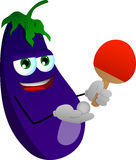 Eggplant playing ping pong Stock Images