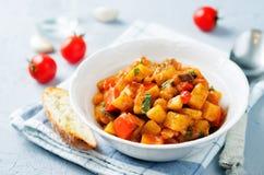 Eggplant potato Bell pepper goulash Stock Photo