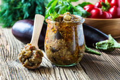 Eggplant preserve in glass jar Royalty Free Stock Photography