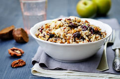 Eggplant quinoa apples dried cranberry salad Stock Photos