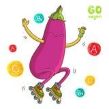 Eggplant rides on roller skates. Royalty Free Stock Image