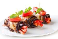 Eggplant rolls Stock Images