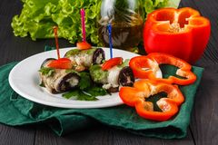 Eggplant rolls with cheese. Georgian cuisine stock photography