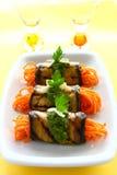 Eggplant rolls with spaghetti Stock Image