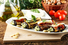 Eggplant rolls stuffed with almond pesto Royalty Free Stock Photography