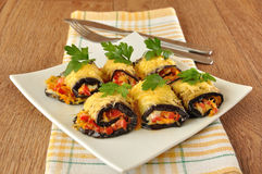 Eggplant rolls stuffed with cheese Royalty Free Stock Photography