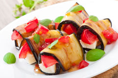 Eggplant rolls stuffed with cheese Stock Images