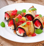 Eggplant rolls stuffed with cheese Stock Image