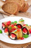 Eggplant rolls stuffed with cheese Royalty Free Stock Photo