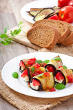 Eggplant rolls stuffed with cheese Stock Photo