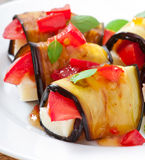 Eggplant rolls stuffed with cheese Royalty Free Stock Image