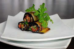 Eggplant rolls stuffed with vegetables Stock Images