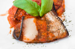 Eggplant rolls with tomato sauce. Royalty Free Stock Photo