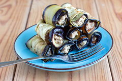 Eggplant rolls with walnut and garlic Royalty Free Stock Photo