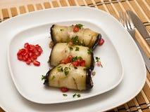 Eggplant rolls with walnuts Stock Photo