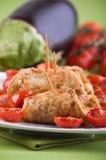 Eggplant roulades with cherry tomato salad. Stock Image
