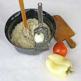 Eggplant salad with mayonnaise and vegetables 2. Homemade creamy tasty eggplant salad with mayonnaise placed in a bowl,  and vegetables Stock Photography