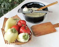 Eggplant salad with mayonnaise and vegetables 9. Homemade creamy tasty eggplant salad with mayonnaise placed in a bowl, and vegetables Stock Photo