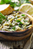 Eggplant salad with olive oil,herb and garlic. Royalty Free Stock Images