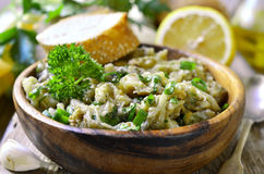 Eggplant salad with olive oil,herb and garlic. Stock Photography