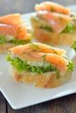Eggplant salad and salmon slice Royalty Free Stock Image
