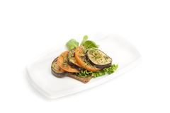 Eggplant salad with tomato and bread Royalty Free Stock Photos