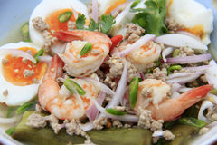 Eggplant salad whit eggs and shrimps, Thai-food. Royalty Free Stock Photos
