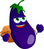 Eggplant with school bag Royalty Free Stock Image