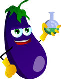 Eggplant scientist holds beaker of chemicals Royalty Free Stock Photography