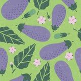 Eggplant seamless pattern. Ripe eggplant with leaves and flowers on shabby background. Original simple flat illustration. Shabby style stock illustration