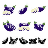 Eggplant set. Vector Stock Images