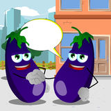 Eggplant shaking hands in the city with speech bubble Royalty Free Stock Image