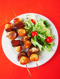 Eggplant skewers Royalty Free Stock Images