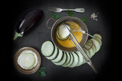 Eggplant Slices Dipped In Egg And Flour Royalty Free Stock Photos