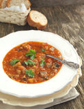 Eggplant soup with lentils Royalty Free Stock Photography