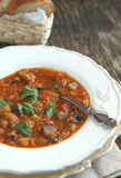 Eggplant soup with lentils Royalty Free Stock Photo
