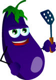 Eggplant with a spatula Stock Images