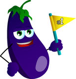 Eggplant sports fan with flag Stock Image