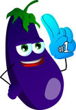 Eggplant sports fan with glove Royalty Free Stock Images