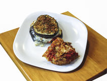 Eggplant Stacks with Chicken Bruschetta. Tasty, nutritious combination is plated and ready for dinner Royalty Free Stock Image