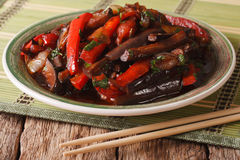 Eggplant Stir-Fry from Asian-style close-up on a plate. horizon Stock Photo