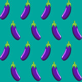 Eggplant stock  seamless pattern on blue green background Stock Image