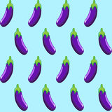 Eggplant stock  seamless pattern on light blue background wallpaper, pattern, web, blog, surface, textures, graphic & print Stock Image