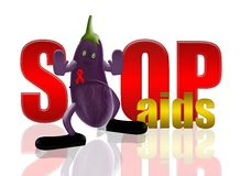 Eggplant and stop aids. Safe sex concept,3d&computer generated Stock Photos