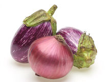 Eggplant of the stripe pattern and purple onion Royalty Free Stock Photography