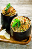 Eggplant stuffed with bulgur and vegetables Royalty Free Stock Images