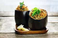 Eggplant stuffed with bulgur and vegetables Royalty Free Stock Photography