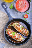 Eggplant stuffed with meat, rice and vegetables Royalty Free Stock Photos