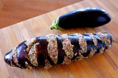 Eggplant stuffed with mince Royalty Free Stock Photos