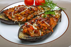 Eggplant stuffed minced meat Stock Photos